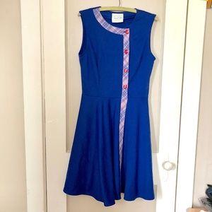 Modcloth Style Syllabus Dress Retro Blue Plaid